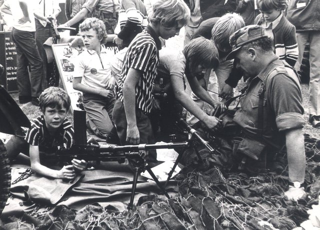 young vistors on one of the Army stands, at Sheffield Show in Hillsborough Park..Aug 29th 1974