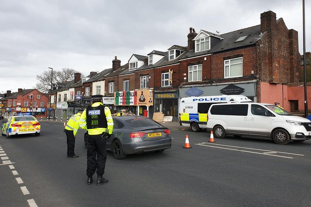 A coronavirus checkpoint on Chesterfield Road in Heeley, Sheffield