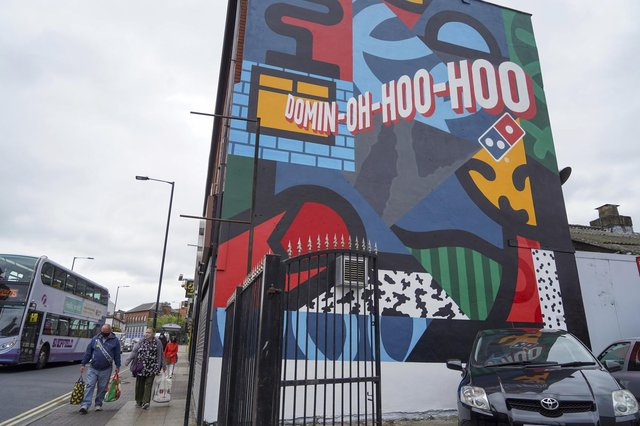 A new mural by Marcus Method, advertising Domino's Pizza, on London Road, Sheffield (pic: Scott Merrylees)