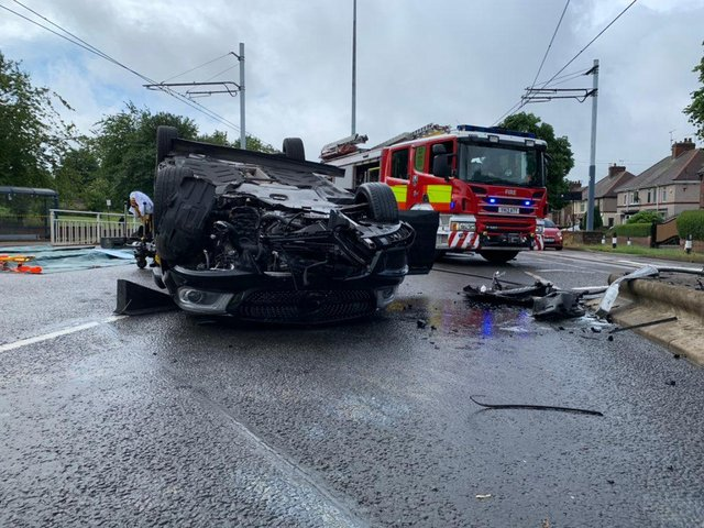 A woman was arrested on suspicion of drink driving this morning following a crash