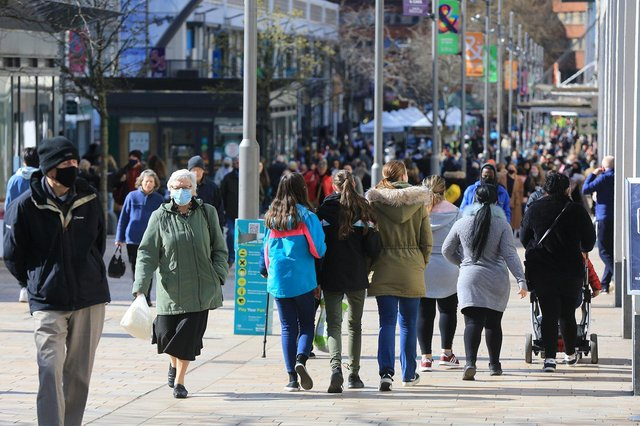 Thousands of shoppers visit The Moor on the first day of the reopening of non-essential shops.