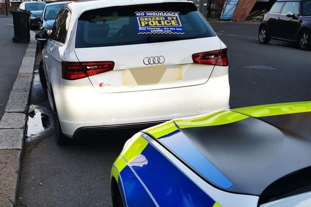 The Audi pulled over by South Yorkshire Police for having no insurance.