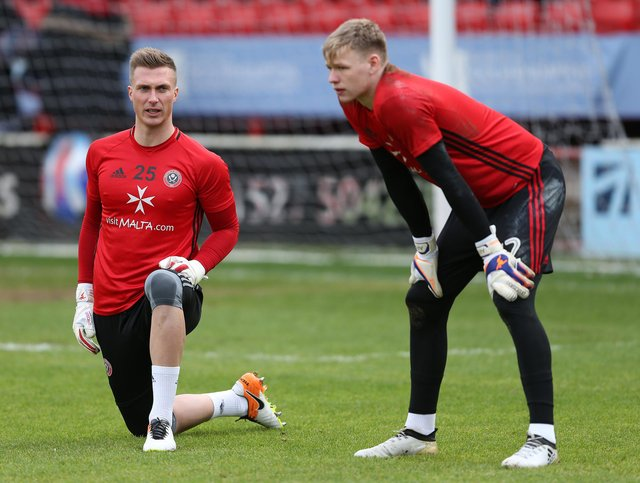 Simon Moore and Aaron Ramsdale, pictured in 2017 during Ramsdale's first spell at United: Simon Bellis/Sportimage