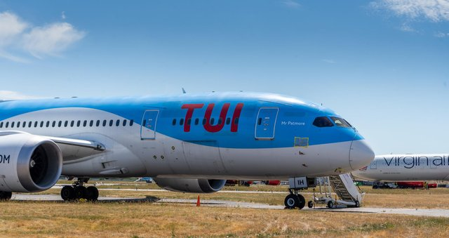Date: 2nd June 2020. Picture James Hardisty. ...........STOCK............. TUI aircraft at Doncaster Sheffield Airport
