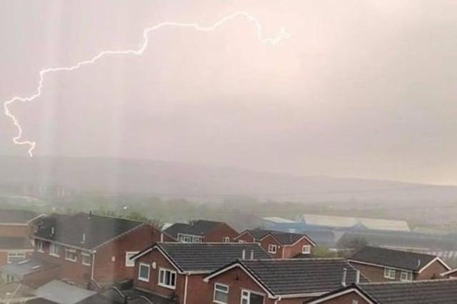 Lightning captured during the storm in Sheffield last night (Photo: Thomas Martin)