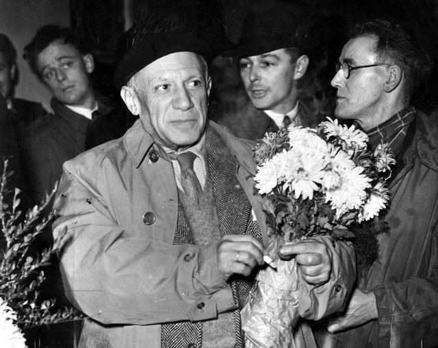 Pablo Picasso arriving at Sheffield Midland Station in 1950 for the World Peace Congress