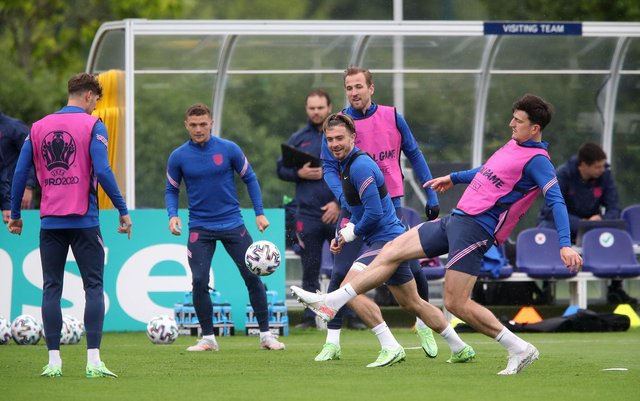 John Stones, Kieran Trippier, Jack Grealish, Harry Kane and Harry Maguire during a training session at Hotspur Way Training Ground, London.  Nick Potts/PA Wire.