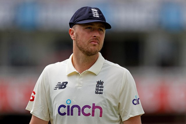 England's Ollie Robinson fields on the fifth day of the first Test cricket match between England and New Zealand at Lord's.