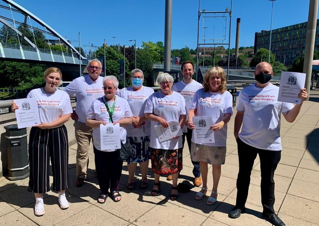 Councillors with campaigners outside June full council in support of the campaign to save Norfolk Park Medical Practice