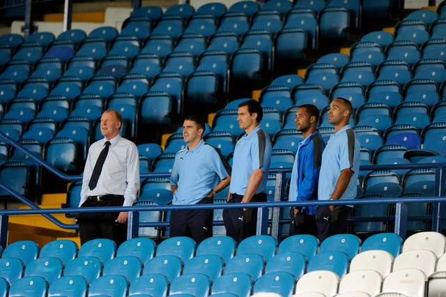 Former Sheffield Wednesday manager Gary Megson takes new signings  Ryan Lowe, Stephen Bywater, David McGoldrick and Chris O'Grady onto the Spion Kop prior to the home at Hillsborough against Exeter City in 2011
