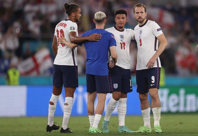 England's Dominic Calvert-Lewin, Phil Foden, Jadon Sancho and Harry Kane of England after the UEFA Euro 2020 Championship Quarter-final win over Ukraine at Stadio Olimpico. (Photo by Lars Baron/Getty Images)