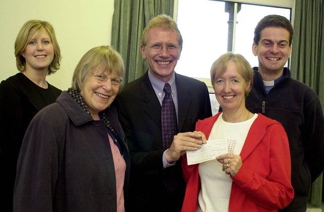 Pitstop Project Charity £5,000 Presentation in 2003, left to right Dawn Smart, Helen Jackson MP Dennis Cowan Pitstop Youth Worker Pat Booth and Vicar Rick Stordy.