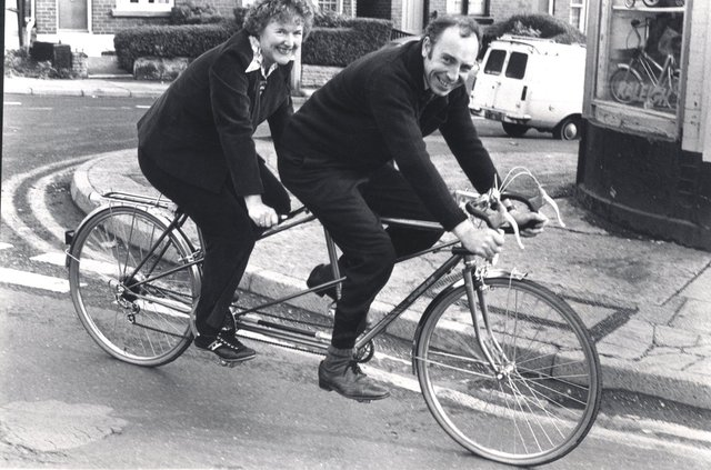 Ted and Pat James on the Motebcana tandem, at James Cycles, Sheffield October 1979