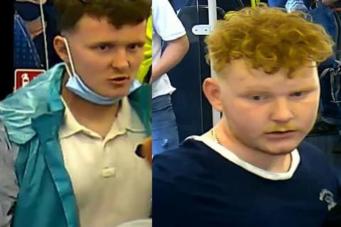 Officers want to trace these two men over a fight on board a train between Sheffield and Lincoln