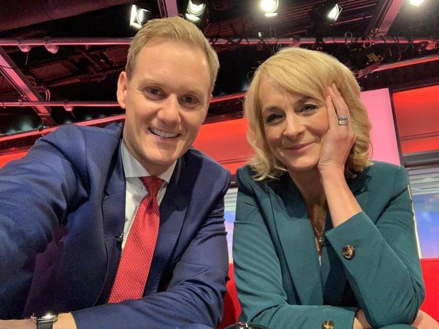 Dan Walker and Louise Minchin in the BBC Breakfast studio (pic: Dan Walker/Twitter)