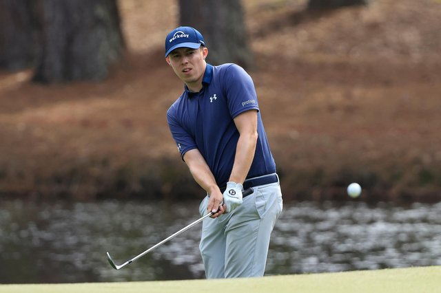 Matt Fitzpatrick plays a shot during the final round of the RBC Heritage in South Carolina.