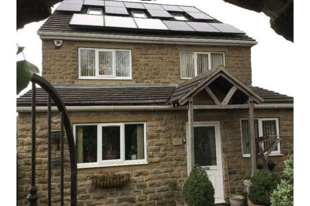 """This eco friendly property has solar panels and a unique wood burning boiler unit which provides heating to all underfloor heating along with the radiators. The brochure says: """"This energy saving property really has it all."""""""