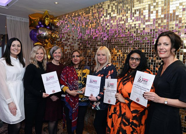 Sahira Irshad, winner of The Dorrett Buckley-Greaves MBE award for Community, pictured with Emma Kirk, Head of Marketing at SUFC, Victoria Warren, of Gritty People and finalists Bobbie Walker, Rita Howson, Annalisa Toccara and Vanessa Langley-Graus