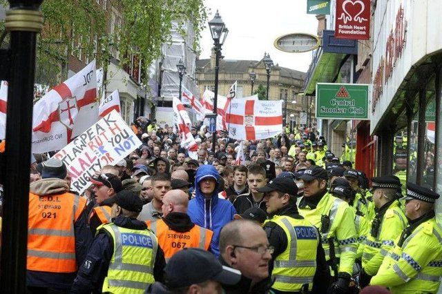 An English Defence League demonstration in Rotherham