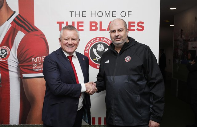 Sheffield United owner Prince Abdullah with former manager Chris Wilder: Simon Bellis/Sportimage