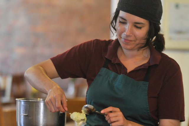Food blogger Komal Khan, who writes as The Girl Who Ate the World, is pictured at Fusion Cafe at Butcher Works Arundel Street, Sheffield, where she was working as a chef