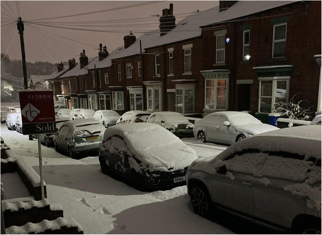 A weather warning for snow is in place for Sheffield