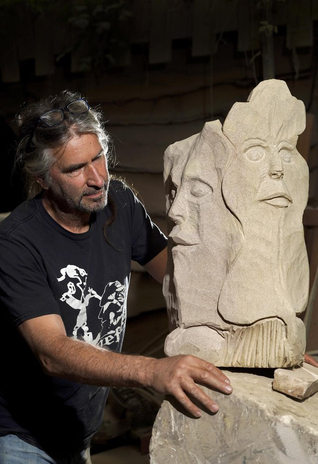 Andrew Vickers of Stoneface Creative in Stannigton - with Green Man. Picture Scott Merrylees