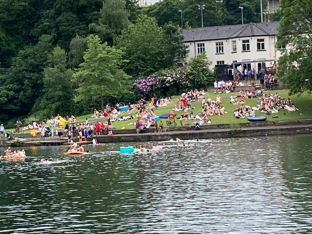 Swimmers at Crookes Valley Park (pic: Emma Wass)