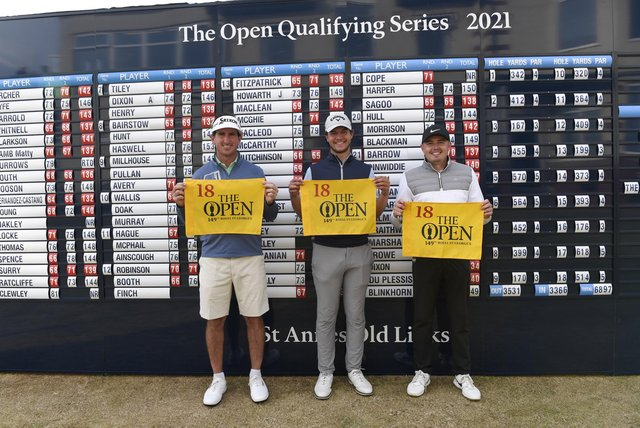 Gonzalo Fernández-Castaño of Spain, Sam Bairstow and Ben Hutchinson pose with The Open flag after qualifying for the 149th Open Championship (photo by Richard Martin-Roberts/R&A/R&A via Getty Images).