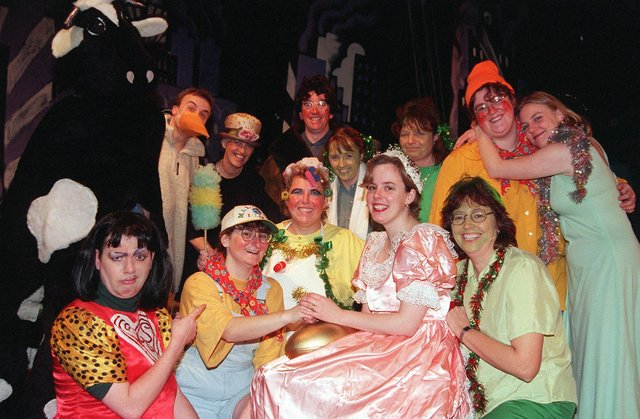 """Firth Park School Teachers Panto . Some of the lower school teachers who took part in their Panto """"Jack in the Beanstalk"""" in 1999"""