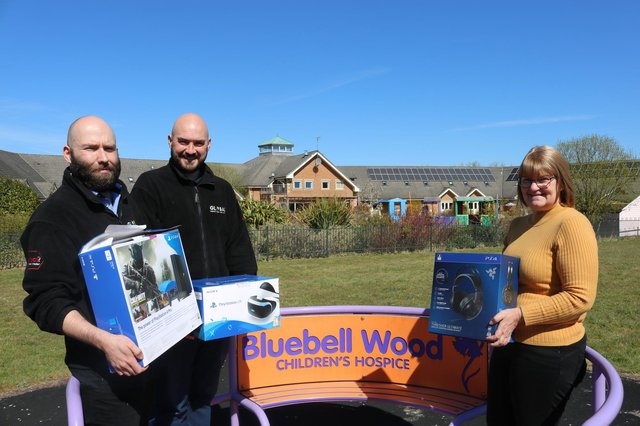 (Left to Right) Liam Hulme and Billy Hawes, Global Windows Joint Managing Directors, and Sally Baker, Bluebell Wood Regional Fundraiser