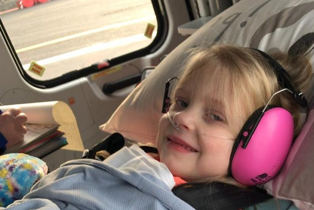 Pippa aboard the Childre's Air Ambulance on her way to Sheffield.