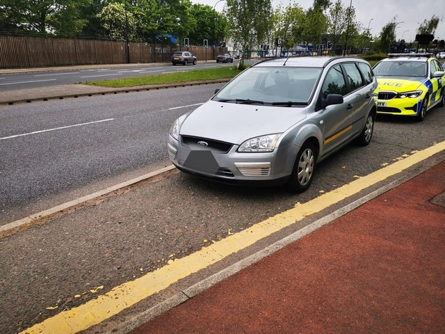 The Ford Focus was stopped by police because it had an under-inflated tyre