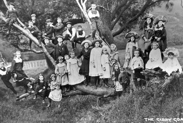 """The children of Birchinlee Village - the """"Tin City"""" built for workmen constructing the Derwent Valley Dams - 1901-1914"""