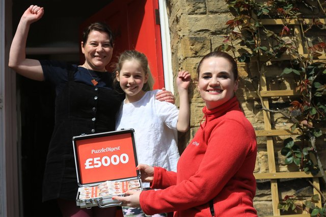 Ranmoor Resident Hannah Read Reaps £5k Cash Success in National Competition. Living with her husband Jon, and children Edith 9, and Stanley 8 Hannah was told of her win via telephone by Puzzle Digest Marketing Manager Clare Haddon pictured, left.