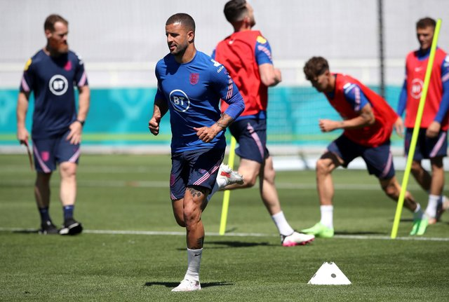 England's Kyle Walker during the training session at St George's Park ahead of the weekend's Euro 2020 opener against Croatia