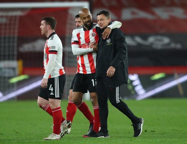 David McGoldrick and Paul Heckingbottom enjoy the win over Brighton: Simon Bellis / Sportimage