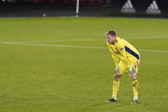 That Bramall Lane goalmouth can be a lonely place at times, and Aaron Ramsdale looks like he's feeling that more often than not at the minute: Andrew Yates/Sportimage