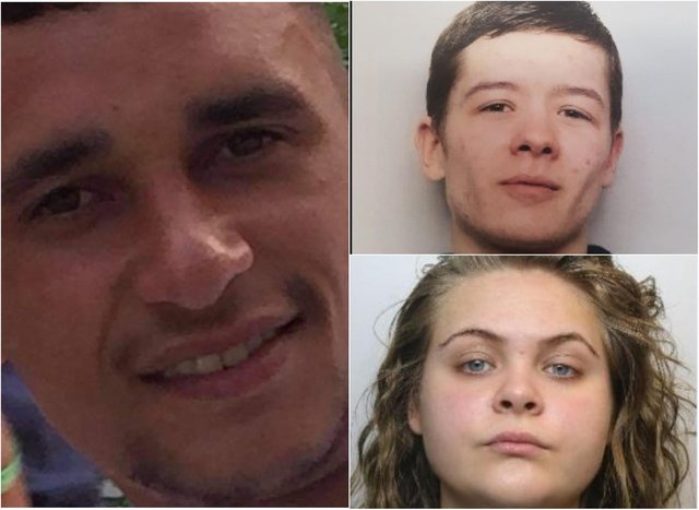Jordan Marples-Douglas (left) was stabbed to death in Sheffield last year. Ben Jones (top right) was found guilty of murder after a trial and Dina Aweimrin (bottom right) was found guilty of assisting an offender