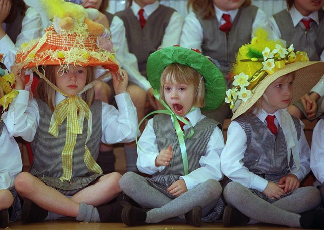 One of the contestants appears a little bored with proceedings at Ashdell School Easter bonnet parade