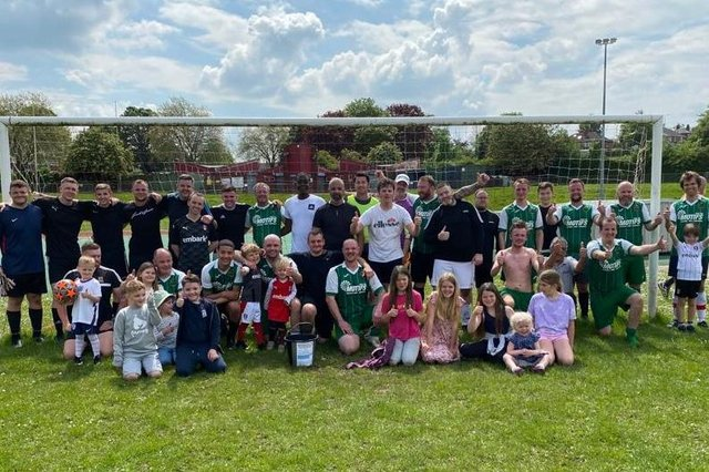 Football match nets funds for young carers in Sheffield, group shot