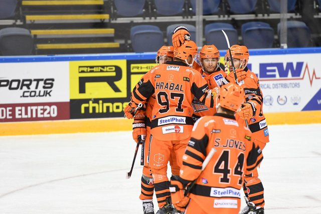 Celebration time for Steelers, with Eberle taking centre stage. Pic: Karl Denham.