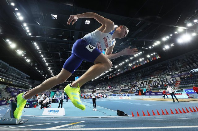 Lee Thompson gets off the mark in the Men's 400 metres at the 2021 European Athletics Indoor Championships.