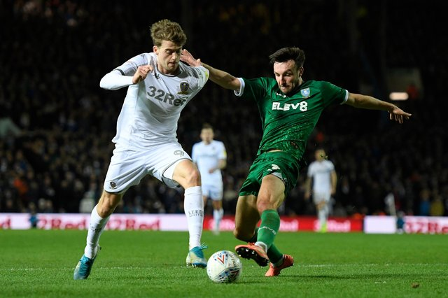 Sheffield Wednesday's Morgan Fox dispossesses Leeds' Patrick Bamford during the Owls' 2-0 win at Elland Road in January.