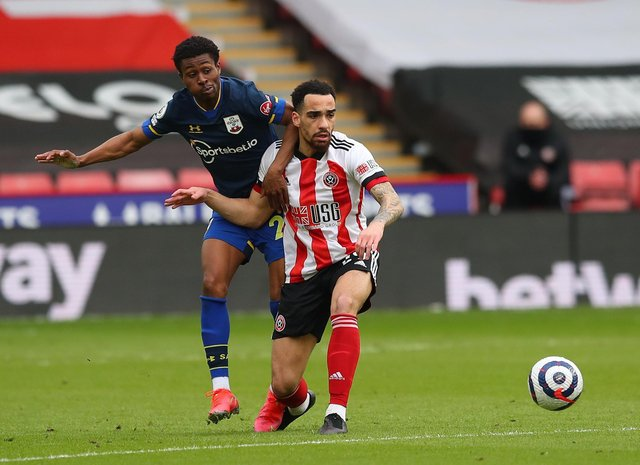 Kean Bryan of Sheffield United intercepts possession from Nathan Tella of Southampton during the Premier League match at Bramall Lane, Sheffield: Simon Bellis/Sportimage