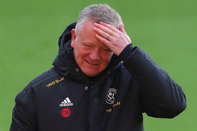 Chris Wilder, manager of Sheffield Utd during the Premier League match against West Ham at Bramall Lane: Simon Bellis/Sportimage