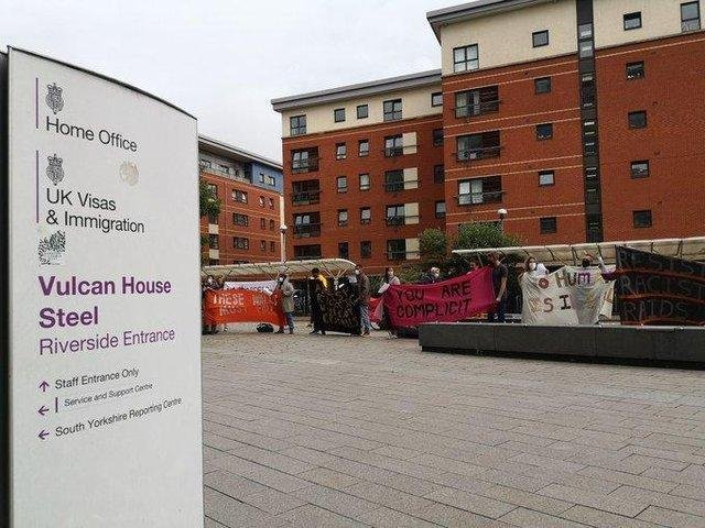 Campaigners protested outside Vulcan House - the Home Office's reporting centre in Sheffield - on Friday