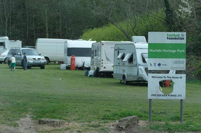 Travellers have set up camp at a football pitch on Norfolk Park Road.