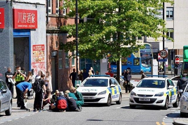 A man was stabbed in a brawl in on Arundel Gate in Sheffield city centre. He was treated for injuries on nearby Norfolk Street (Photo: Steve Ellis)