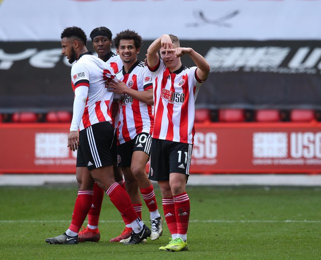 Zak Brunt of Sheffield Utd celebrates scoring the second goal during the Professional Development League match at Bramall Lane, Sheffield. Picture date: 22nd March 2021. Picture credit should read: Simon Bellis/Sportimage